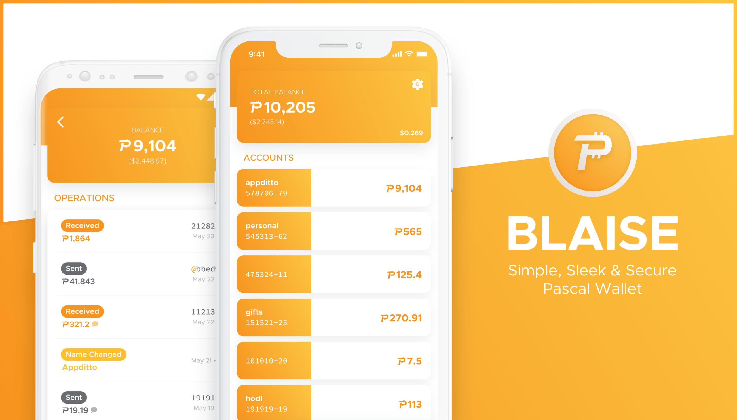 Blaise is a simple, sleek & secure Pascal wallet